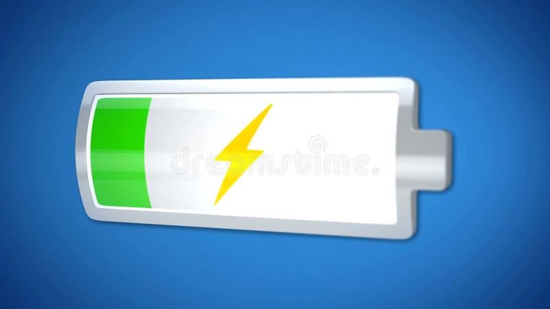Batteria bassa che si carica, 3d icona, alimentazione, breve durata della vita degli aggeggi immagine stock