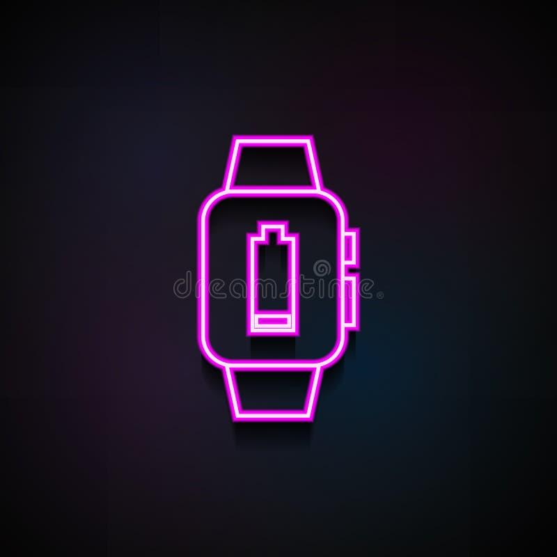 batteria bassa su un'icona astuta dell'orologio Elemento delle icone minimalistic per i apps mobili di web e di concetto Batteria illustrazione di stock