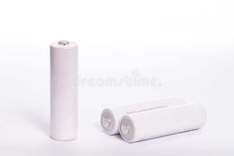 Batteria bianca isolata fotografia stock