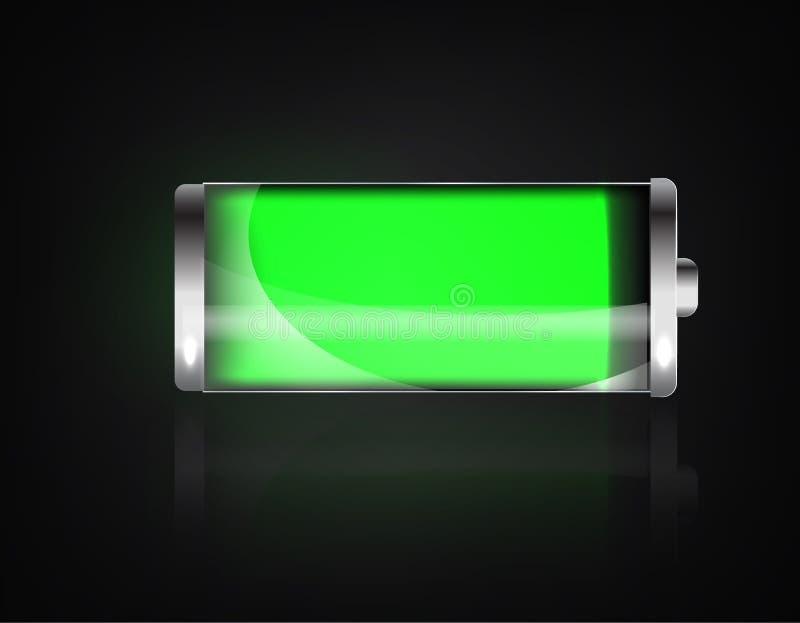 Batteria caricata Batteria tutto spesata Batteria che carica l'indicatore di condizione m/c Batteria realistica di vetro di verde royalty illustrazione gratis