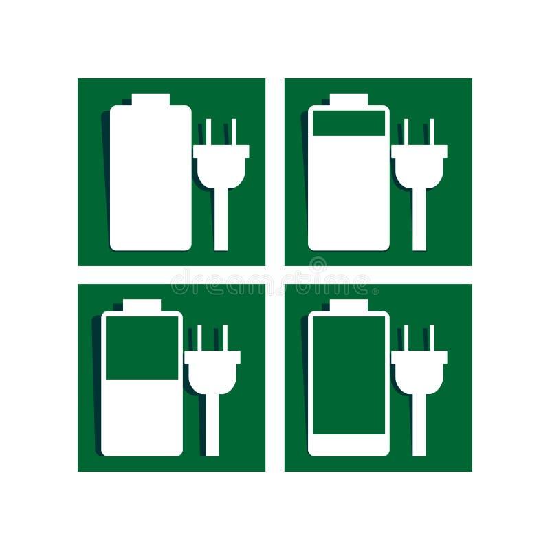 Batteria che carica l'icona del segno illustrazione di stock