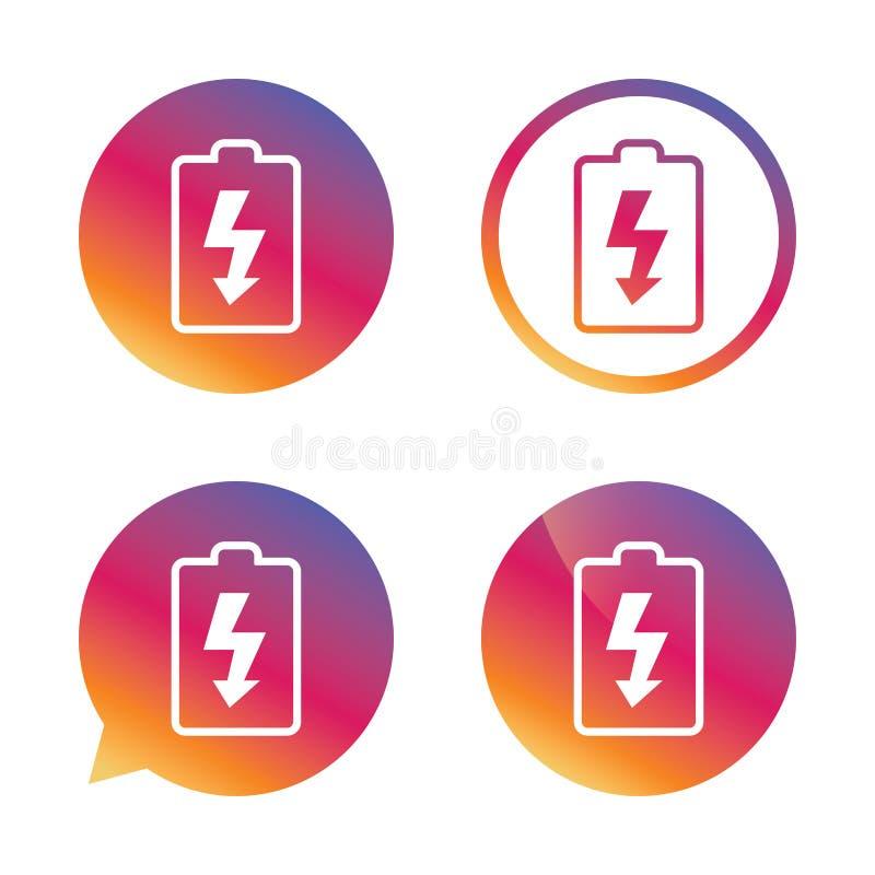 Batteria che carica l'icona del segno Simbolo del fulmine illustrazione di stock