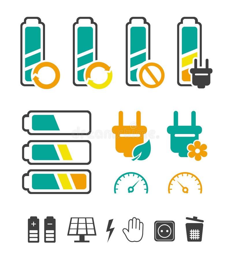 Batteria che ricicla i pittogrammi impostati illustrazione vettoriale