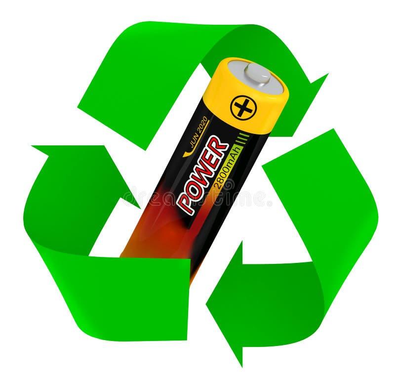 Batteria che ricicla simbolo illustrazione di stock