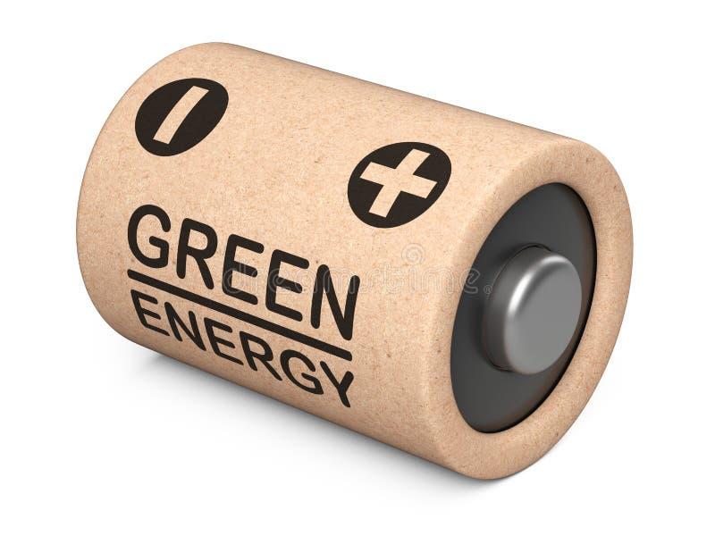 Batteria fatta dalle componenti naturali e dalla carta riciclata Concetto di energia di Eco illustrazione vettoriale