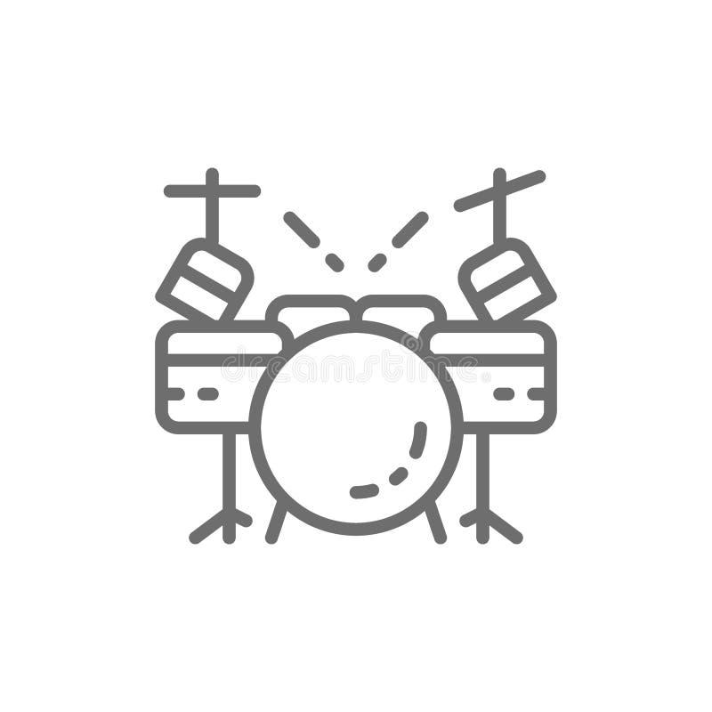 Batteria, linea icona dello strumento musicale illustrazione di stock