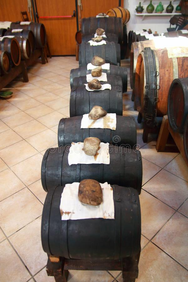 Series of Balsamic vinegar drums in Castelnuovo di Modena. Batteria is a series of barrels of different kind of woods for the production of the real Balsamic royalty free stock photos