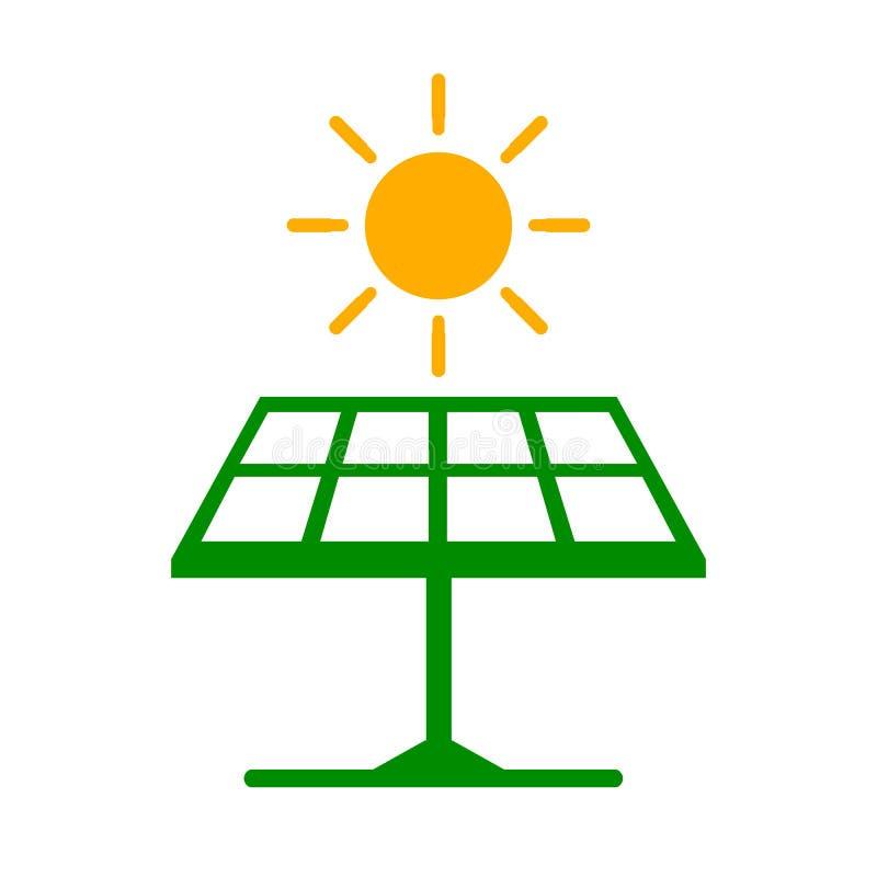 Batteria solare con il sole, icona di energia di eco – vettore illustrazione vettoriale