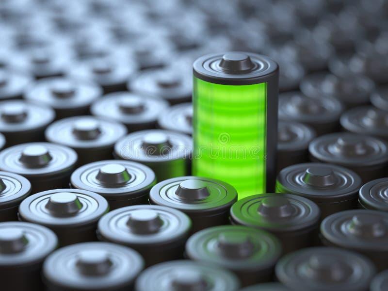 Batteribegrepp, makt och energi royaltyfri illustrationer