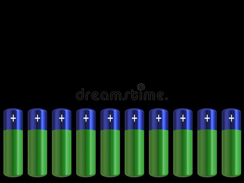 Batterie blu e verdi illustrazione vettoriale