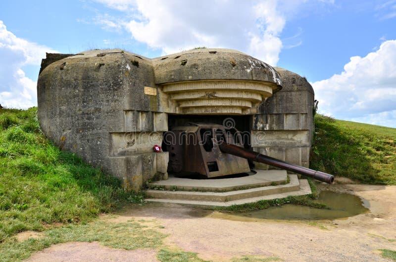 Batterie d'artillerie de la deuxième guerre mondiale, Normandie, France photographie stock libre de droits