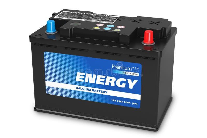 Batterie d'automobile noire sur le fond blanc illustration libre de droits
