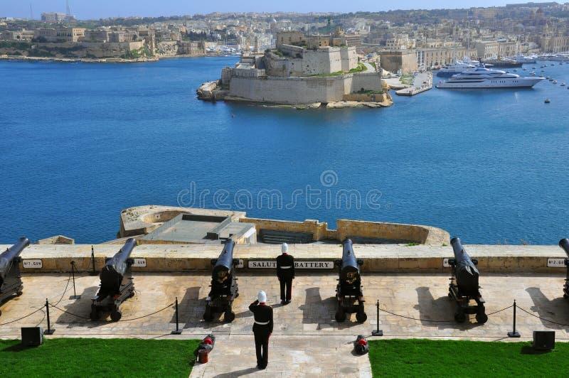 Batterie de Lascaris de La Valette, Malte images stock