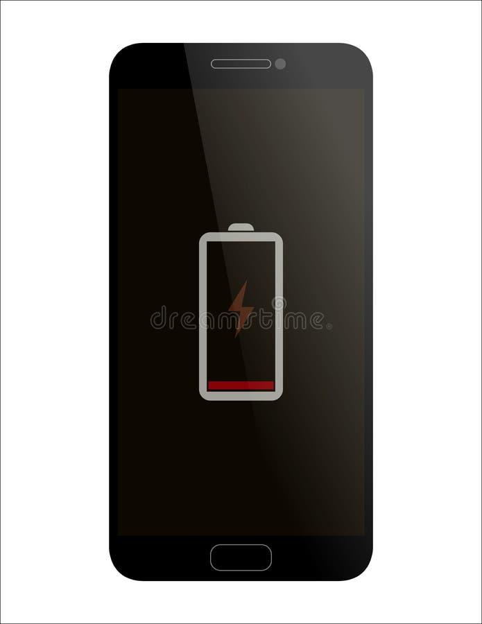 Batterie de smartphone d'affichage basse illustration de vecteur