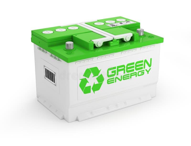 Batterie de voiture sur le fond blanc Concept vert d'énergie illustration libre de droits