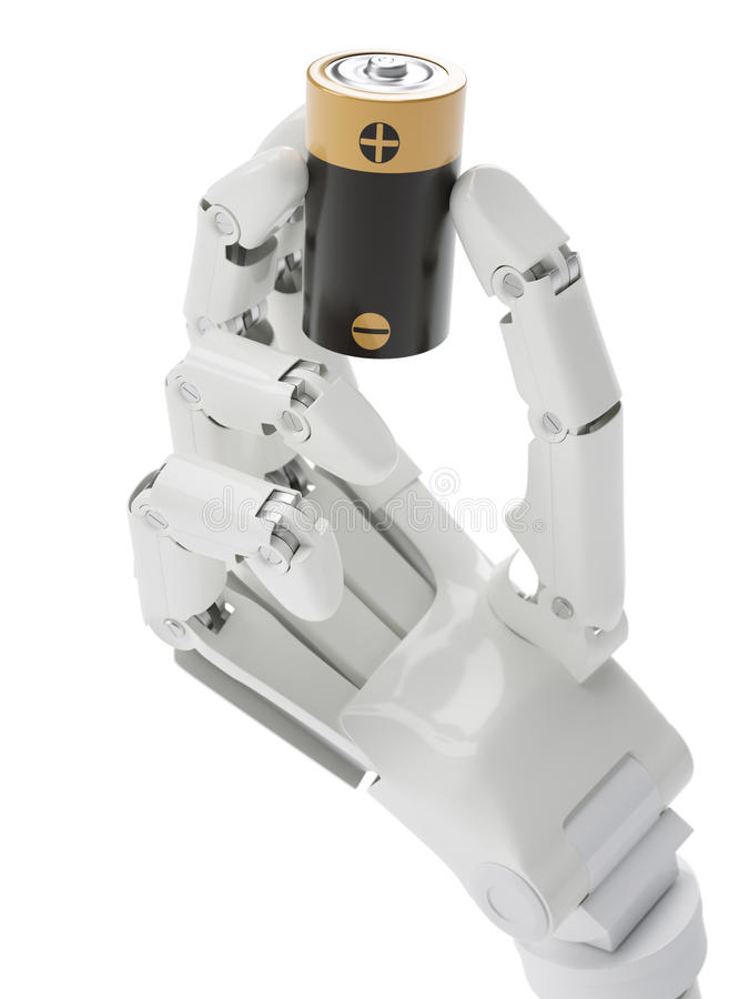 Batterie in der Roboterhand stockfoto