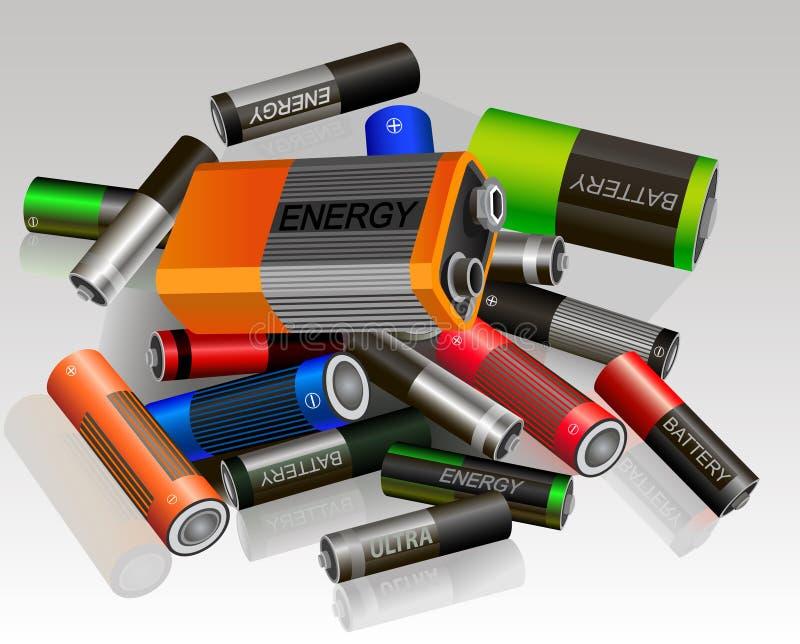 Batterie differenti stabilite Dispendio energetico economico illustrazione vettoriale