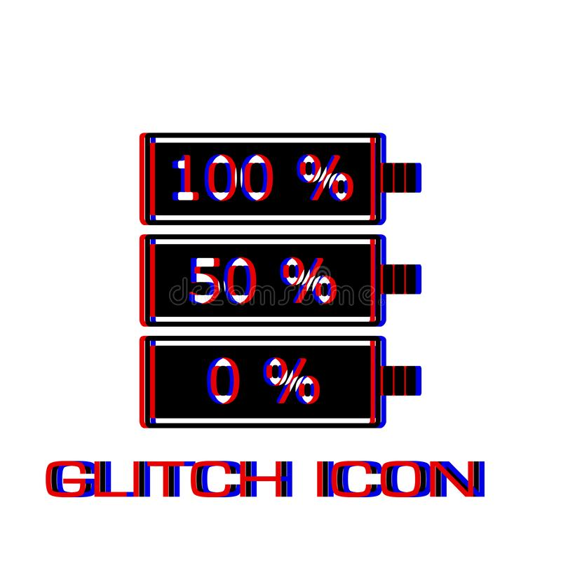 Batterie-Ikone flach stock abbildung
