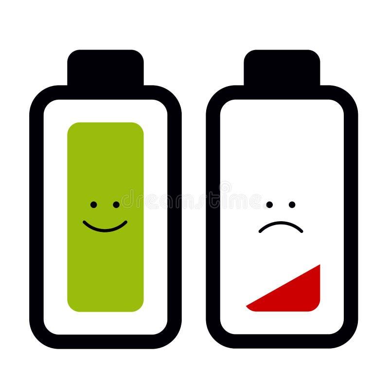 Batterie-Ikonen leeren voll sich - Vektor-Illustration - lokalisiert auf Weiß vektor abbildung
