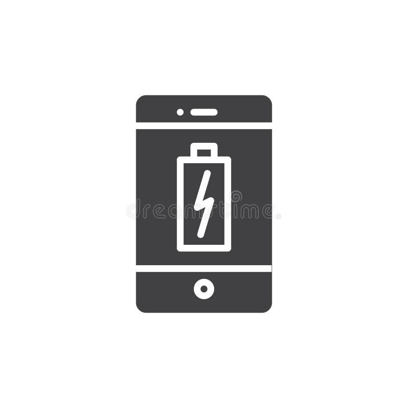 BATTERIE-Ikonenvektor Smartphones Aufladungs lizenzfreie abbildung
