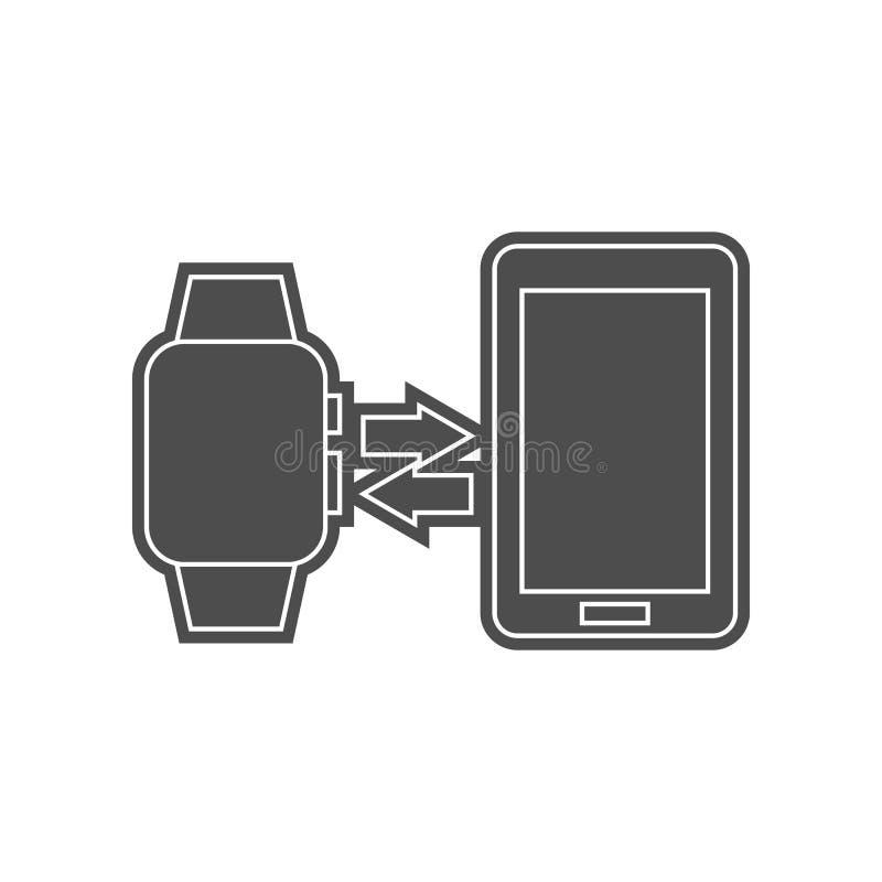 Batterie niedrig auf einer intelligenten Uhrikone Element von minimalistic f?r bewegliches Konzept und Netz Appsikone Glyph, flac stock abbildung