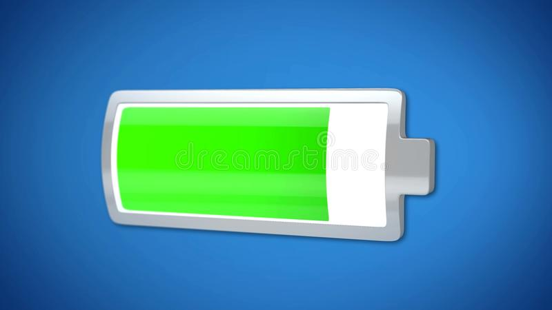 Batterie presque pleine, indicateur vert, économie d'énergie, durée de vie de l'électronique image stock