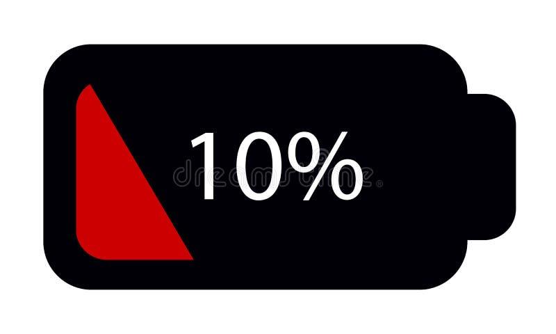 Batterie-Status leeren 10% - Editable Vektor-Ikone - lokalisiert auf Weiß stock abbildung