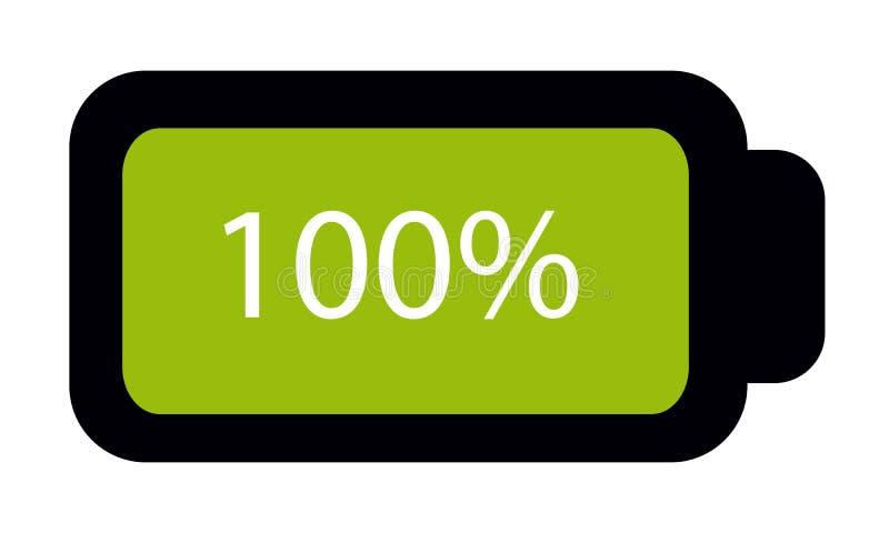 Batterie-Status voll 100% - Editable Vektor-Ikone - lokalisiert auf Weiß stock abbildung