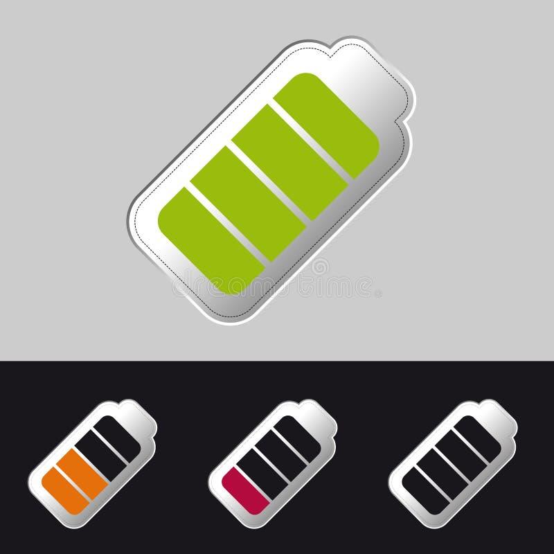 Batterie-Status voll, halb und leeres - Vektor-Illustration - lokalisiert auf Gray Background vektor abbildung