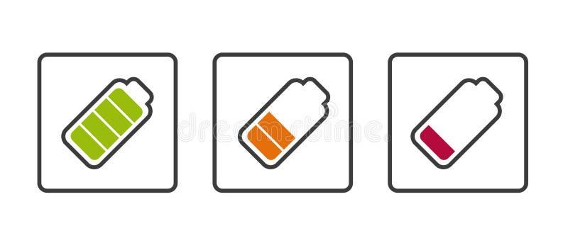 Batterie-Status voll, halb und leeres - Vektor-Illustration - lokalisiert auf weißem Hintergrund vektor abbildung