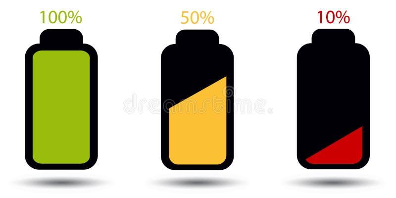 Batterie-Status voll, halbes und leeres - Editable Vektor-Ikonen - lokalisiert auf Weiß lizenzfreie abbildung