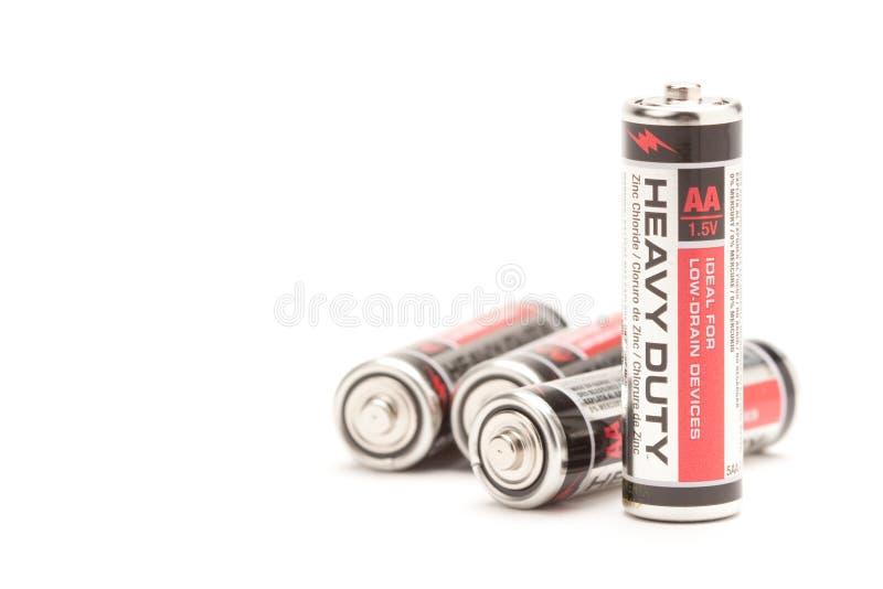 Batterie su bianco fotografie stock libere da diritti