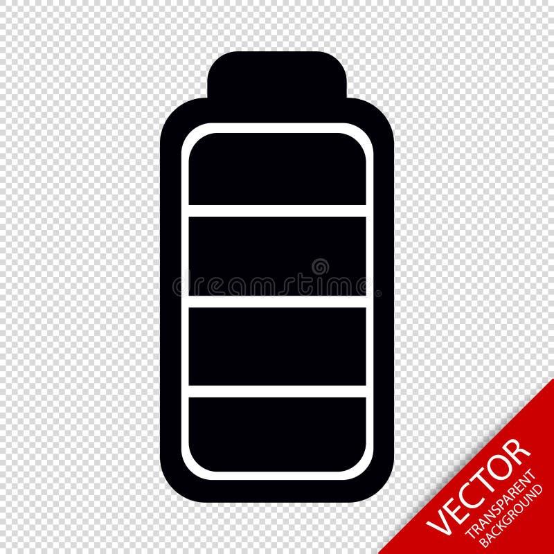 Batterie-Vektor-Ikone - lokalisiert auf transparentem Hintergrund lizenzfreie abbildung