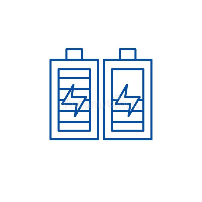 Batterieaufladungslinie Ikonenkonzept Batterie, die flaches Vektorsymbol, Zeichen, Entwurfsillustration auflädt vektor abbildung