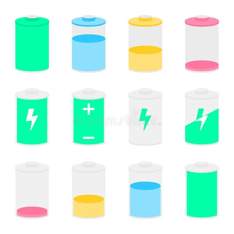 Batterieikonen eingestellt für Entwurf lizenzfreie abbildung