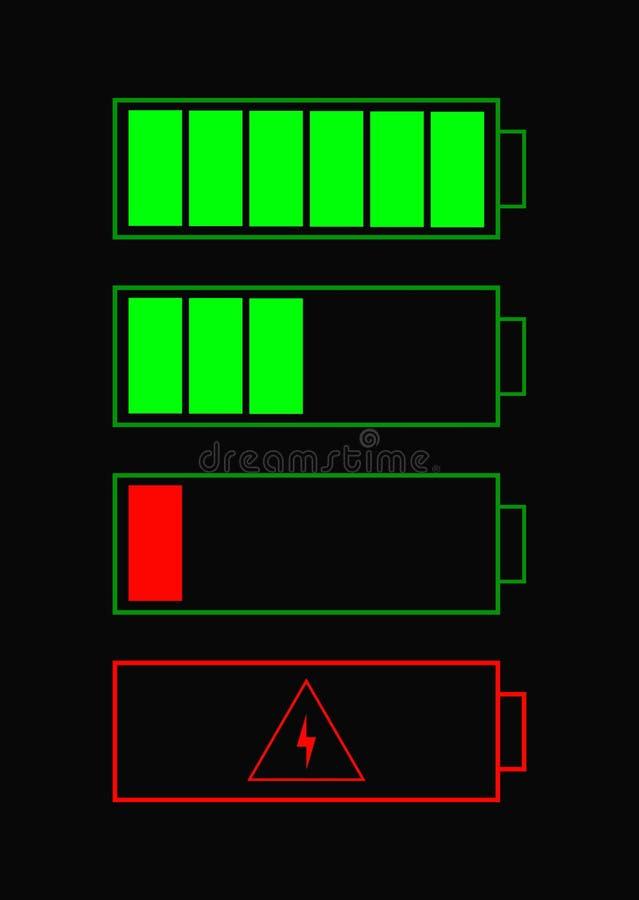 Batterieindikatoreinzelteile Batterieikonen eingestellt für Website Körperverletzungsvorwurfsstatus mit Tief- und Hochenergienive lizenzfreie abbildung
