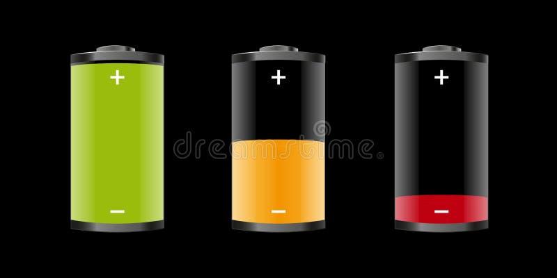 Batterien - volle halb leere Ikonen 3D - Vektor-Illustration - lokalisiert auf schwarzem Hintergrund lizenzfreie abbildung
