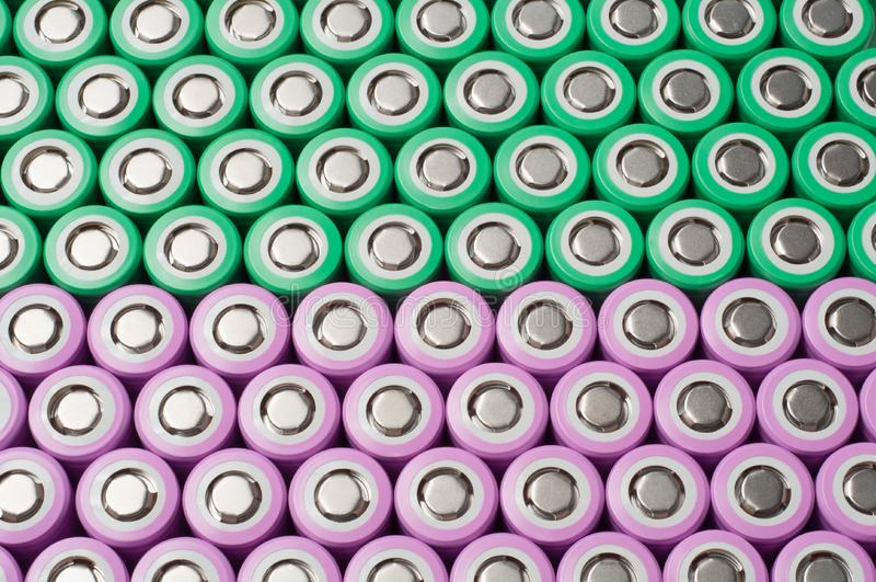Batterier för litiumjon 18650 arkivfoton