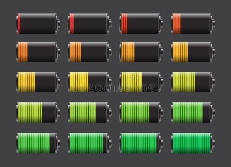 batterier laddar den olika nivåvektorn royaltyfri illustrationer