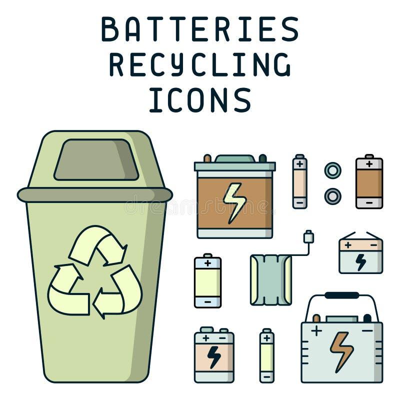 Batterier som återanvänder illustrationen med avfall, dumpsteren och att märka stock illustrationer
