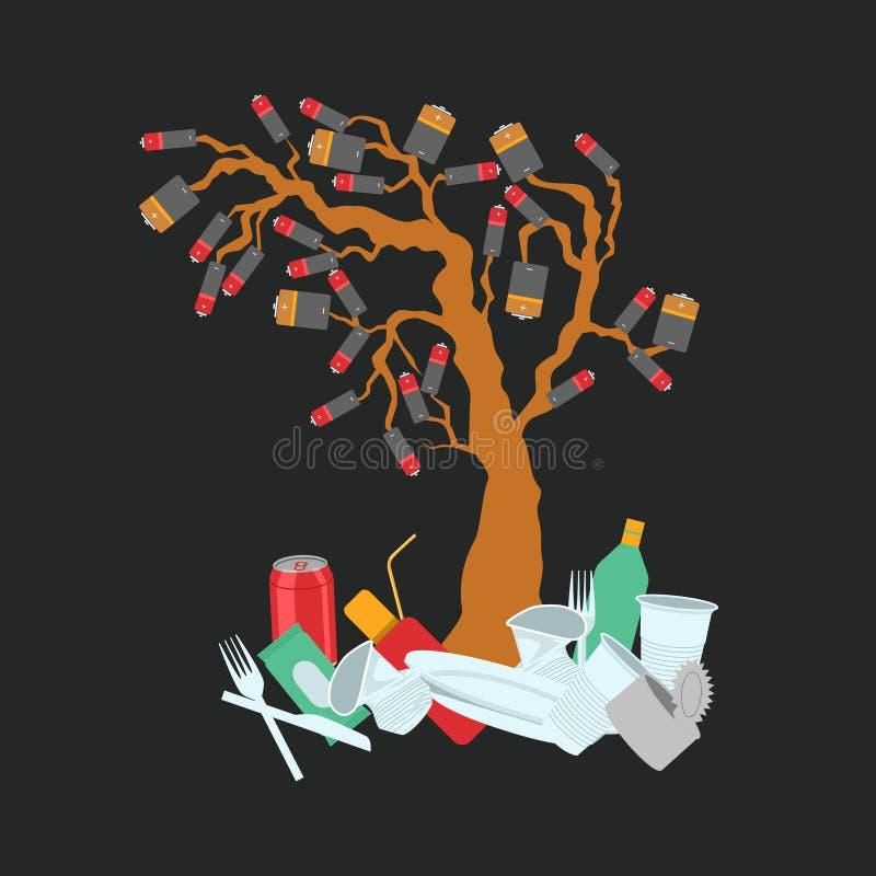 Batterier som växer på träd- och jordförorening vektor illustrationer