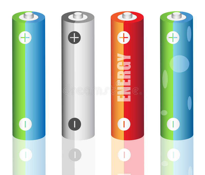 Batteries. Vector illustration of batteries set royalty free illustration