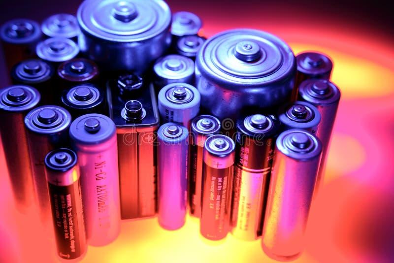 Batteries. Assorted batteries special effects studio shot stock photo