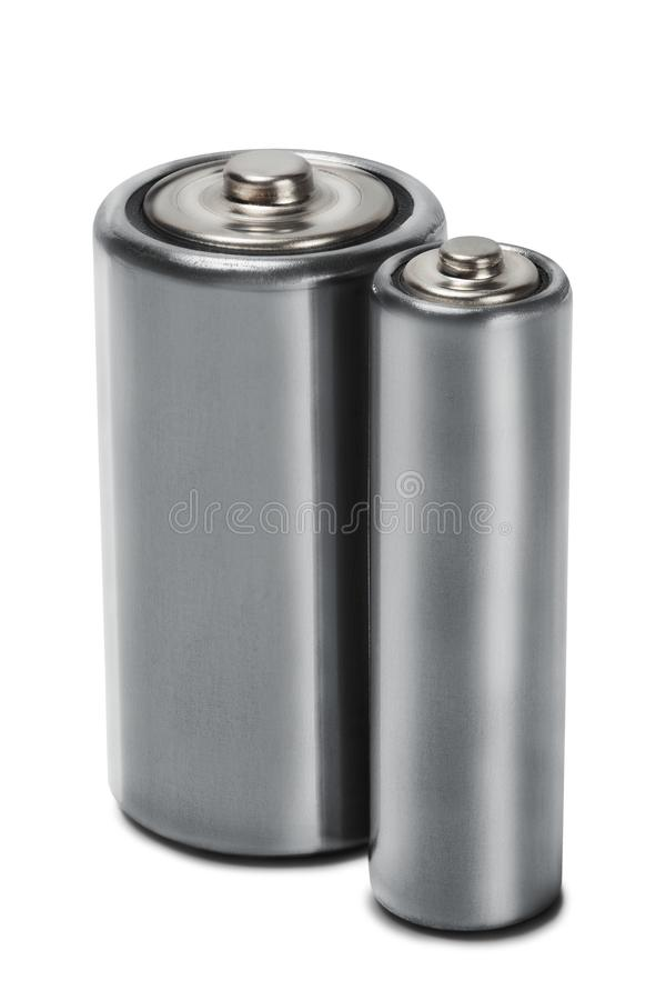 Batteries AA and C on white isolated background. Concept of renewable energy and sources of electrical power. Pattern for designer. Of environmental power stock photos
