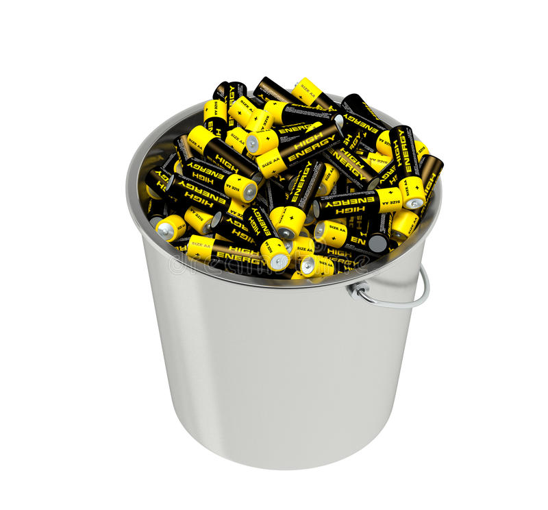 Batteries in a bucket stock illustration