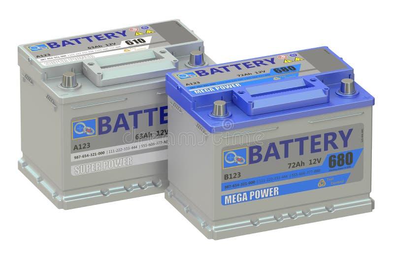 Batteries car, 3D rendering stock illustration