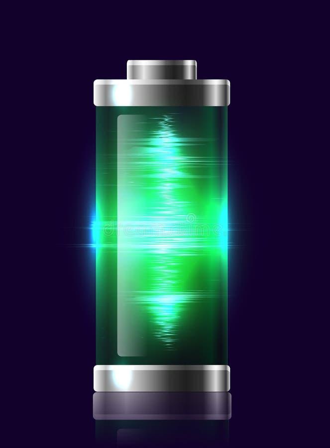Batteries chargées transparentes d'illustration avec la charge électrique illustration libre de droits