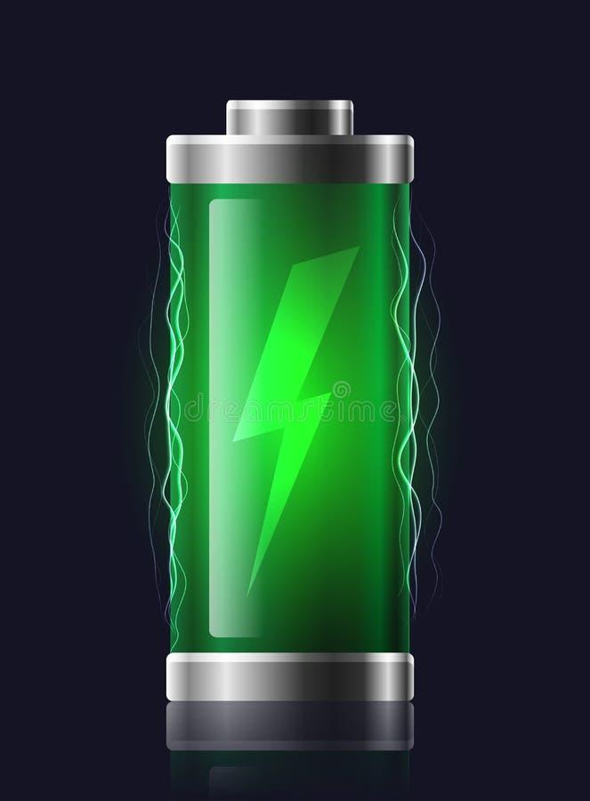 Batteries chargées transparentes d'illustration avec la foudre illustration de vecteur