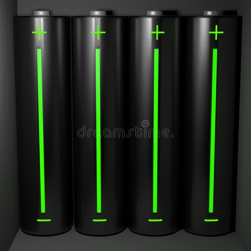 Batteries with charge indicator stock images