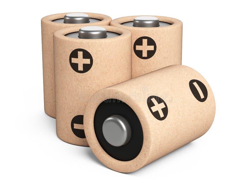 Batteries d'Eco faites à partir des composants naturels et du papier réutilisé Concept vert d'énergie illustration de vecteur